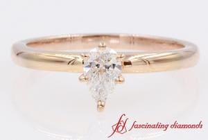 Pear Diamond Solitaire Ring Rose Gold