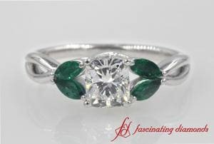 Petal Cushion Diamond Engagement Ring