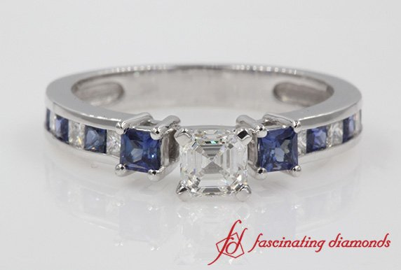 Petite Asscher Diamond 3 Stone Engagement Ring With Sapphire In White Gold