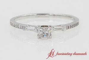 Petite Baguette With Princess Cut Engagement Ring In White Gold