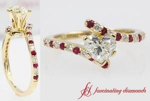 Petite Bypass Engagement Ring With Ruby In Gold