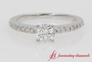 Petite Diamond Engagement Ring In 18k White Gold
