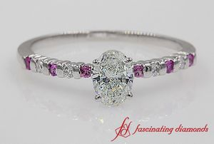 Petite Diamond Wedding Ring With Pink Sapphire In Platinum
