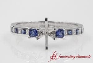 Petite Engagement Ring Setting With Sapphire In White Gold