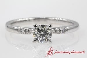 Petite French Pave Diamond Engagement Ring