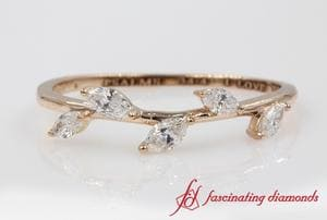 Petite Leaf Design Marquise Diamond Band