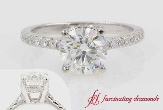 Petite Round Diamond Ring In Platinum