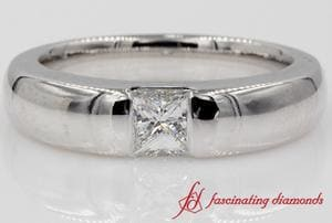 Platinum Bezel Set Diamond Wedding Ring