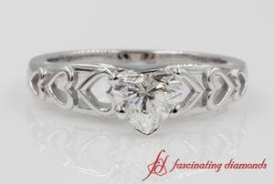 Platinum Heart Design Solitaire Ring