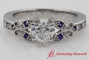 Platinum Purple Topaz Milgrain Engagement Ring