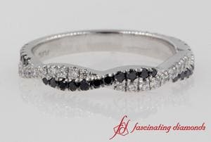 Platinum Twisted Vine Black Diamond Wedding Band