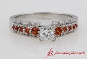 Princess Cut 3 Row Diamond Ring With Orange Sapphire In White Gold