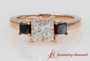 Princess Cut 3 Stone Engagement Ring In Rose Gold