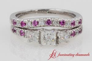 3 Stone Wedding Ring Set