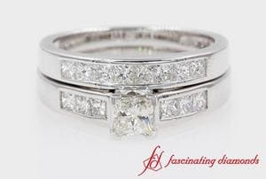 Princess Cut Channel Diamond Wedding Ring Set In White Gold