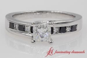 Princess Cut Channel Set Engagement Ring In 18k White Gold