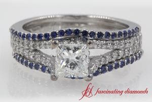 Princess Cut Diamond Trio Bridal Set With Sapphire In White Gold