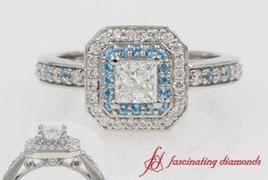 Princess Cut Double Halo Engagement Ring In Platinum