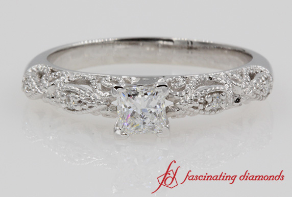 Princess Cut Filigree Diamond Ring In White Gold