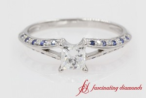 Princess Cut Split Shank Ring