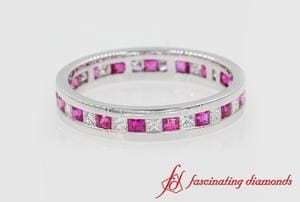 Princess Cut Pink Sapphire Eternity Band