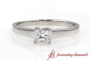 Princess Cut Solitaire Diamond Ring In White Gold
