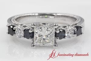 Princess Cut Vintage Black Diamond Engagement Ring In White Gold