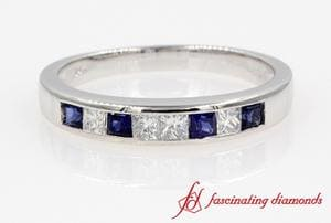 Princess Cut Diamond Sapphire Band