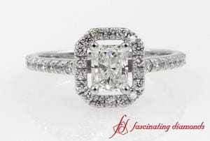 Radiant Cut Halo Diamond Engagement Ring In White Gold