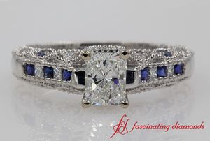 Radiant Diamond Antique Ring With Sapphire In 18k White Gold