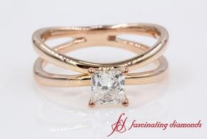 Reversed Split Solitaire Princess Cut Diamond Engagement Ring In Rose Gold