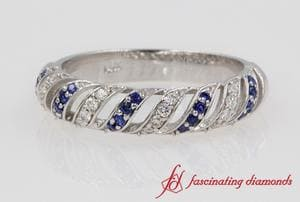 Rope Design Diamond & Sapphire Band In White Gold