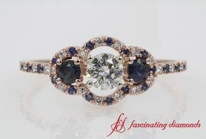 Rose Gold 3 Stone Halo Diamond Engagement Ring With Sapphire