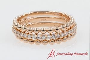 Rose Gold Bead With Diamond Stack Band