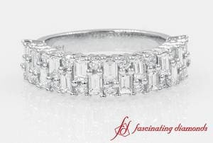 Round & Baguette Vintage Wedding Band