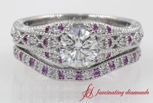 Round Cut Antique Filigree Diamond Bridal Set In Platinum