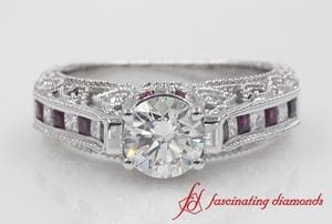 Round Cut Diamond Milgrain Engagement Ring With Ruby In Platinum