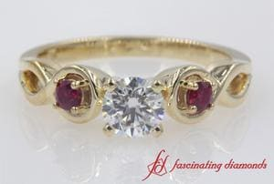 Round Cut Engraved 3 Stone Engagement Ring With Ruby In Gold