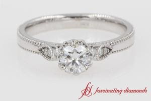 Round Cut Milgrain Diamond Engagement Ring
