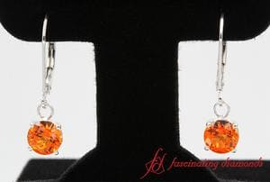 Round Cut Orange Topaz Hoop Earring In Sterling Silver