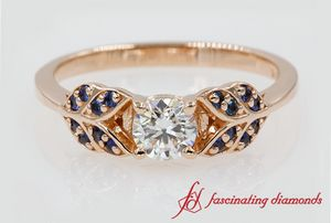Vintage Leaf Ring With Sapphire