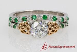 Round Diamond Celtic Wedding Ring Set In 18K White Gold