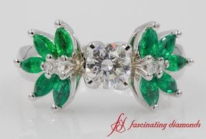 Round Diamond Floral Emerald Ring