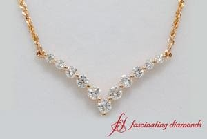 Round Diamond Graduated V-Necklace