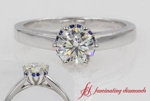 Round Diamond Studded Prong Engagement Ring