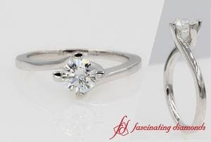 Round Diamond Swirl Solitaire Ring In 18k White Gold