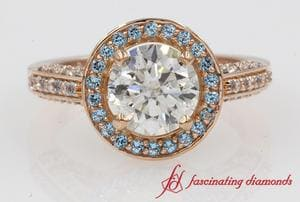 Round Diamond With Blue Topaz Halo Engagement Ring