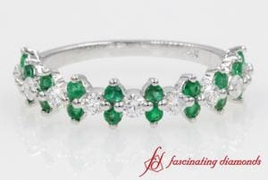 Round Diamond Band With Emerald