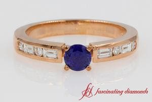 Round Sapphire & Baguette Wedding Ring In 18k Rose Gold