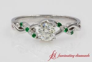 Round U Prong Twisted Diamond Ring With Emerald In White Gold